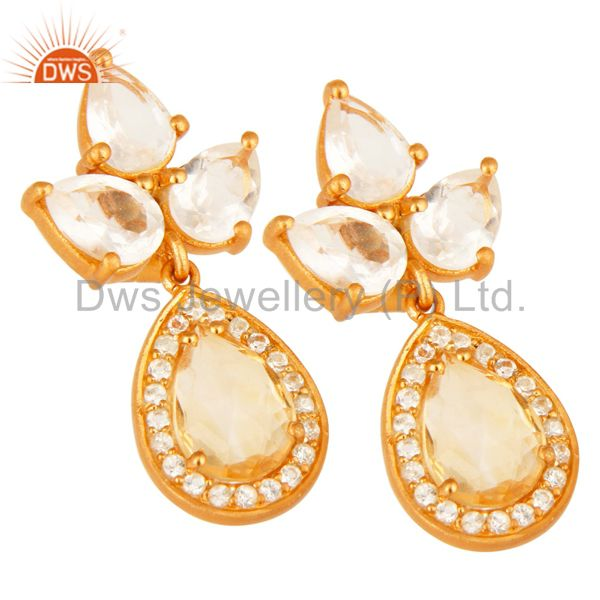 Exporter 18K Gold Plated Sterling Silver Citrine, Crystal And White Topaz Drop Earrings