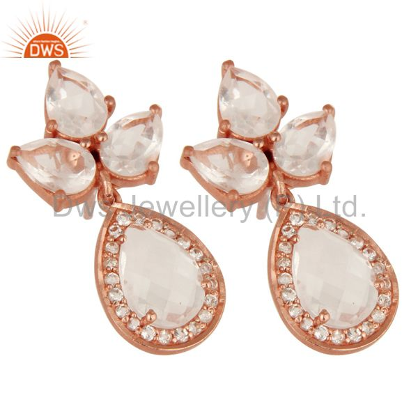 Exporter 18K Rose Gold Plated Sterling Silver Crystal Quartz And CZ Post Stud Earrings
