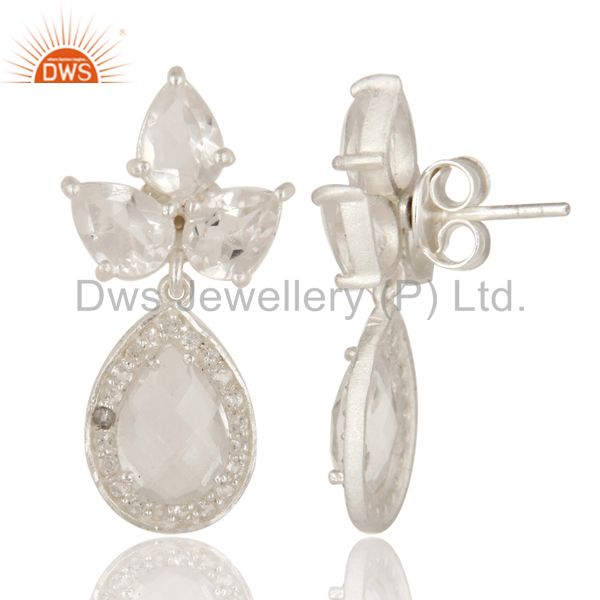 Exporter 925 Sterling Silver Crystal Quartz And White Topaz Cluster Dangle Earrings