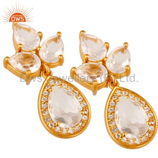 Exporter 18k Gold Plated Sterling Silver With Crystal Quartz And White Topaz