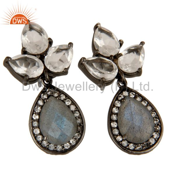 Exporter Labradorite And Crystal Quartz Gemstone Rhodium Plated Sterling Silver Earrings