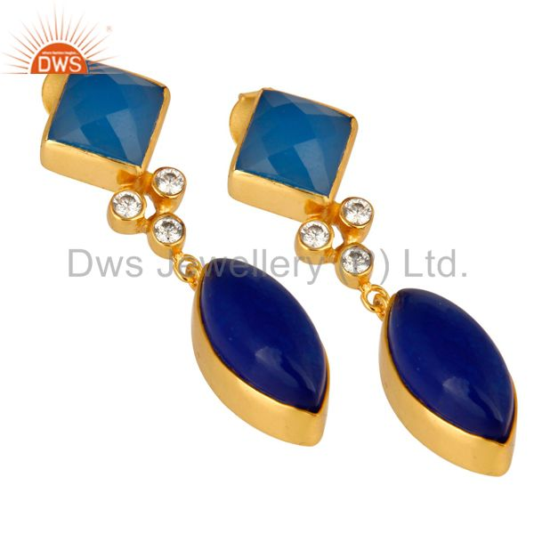 Exporter 22K Yellow Gold Plated Blue Aventurine And Chalcedony Earrings With CZ