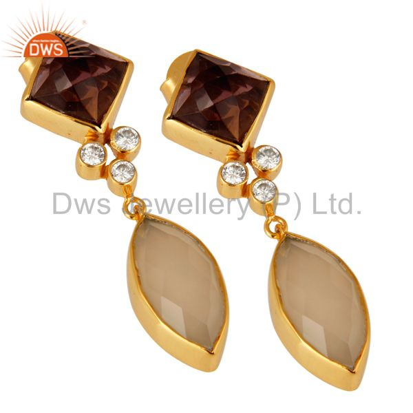 Exporter 22K Yellow Gold Plated Hydro Amethyst And Chalcedony Dangle Earrings With CZ