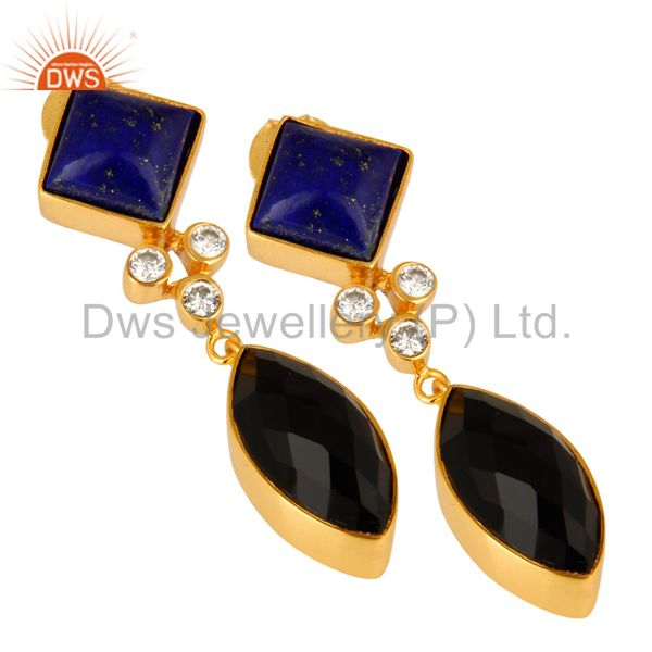 Exporter 18K Gold Plated Black Onyx And Lapis Lazuli Gemstone Dangle Earrings With CZ