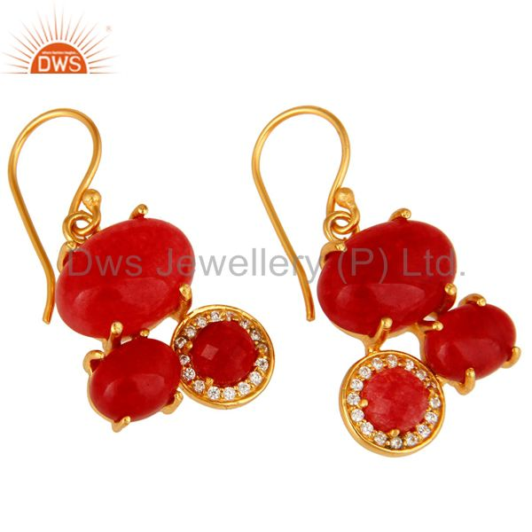 Exporter 18K Yellow Gold Plated Over Brass Red Aventurine Prong Set Dangle Earrings