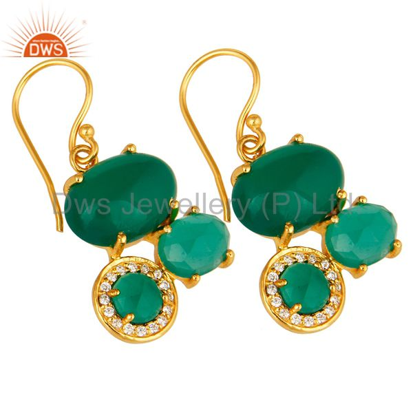 Exporter 18K Yellow Gold Plated Brass Green Onyx And Cubic Zirconia Designer Earrings