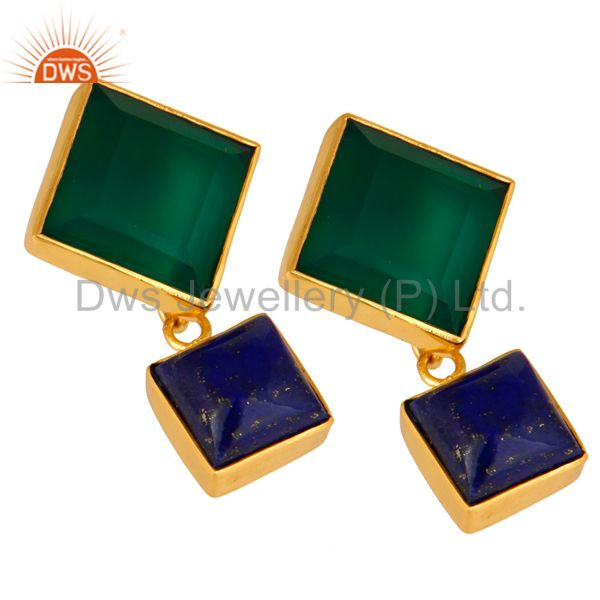 Exporter 14K Yellow Gold Plated Green Onyx And Lapis Lazuli Gemstone Earrings