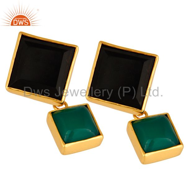 Exporter Handmade Green Onyx And Black Onyx Gemstone Gold Plated Earrings
