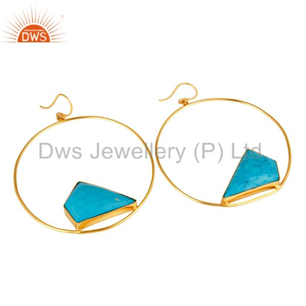 Exporter 18K Yellow Gold Plated Over Brass Turquoise Bezel Set Dangle Earrings