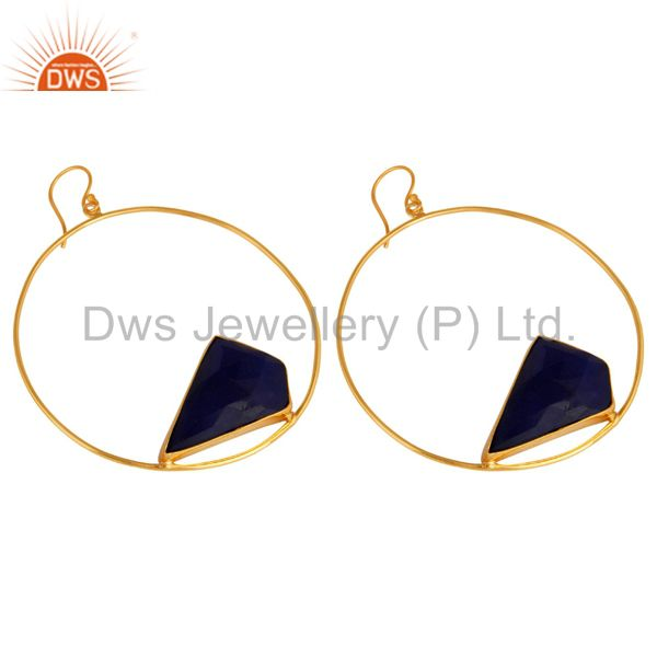 Exporter Natural Blue Aventurine Gemstone Handmade 22K Gold plated Brass Circle Earrings