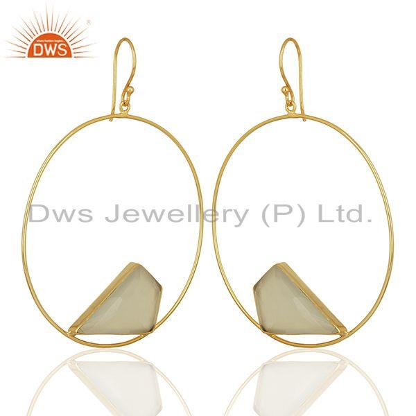Exporter White Chalcedony Gemstone Gold Plated Brass fashion Earrings Supplier