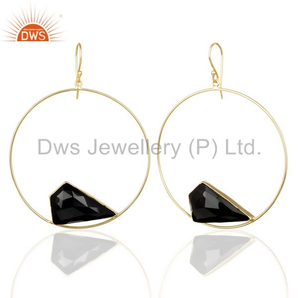 Exporter Black Onyx Gemstone Gold Plated Brass Fashion Big Earrings Manufacturer India