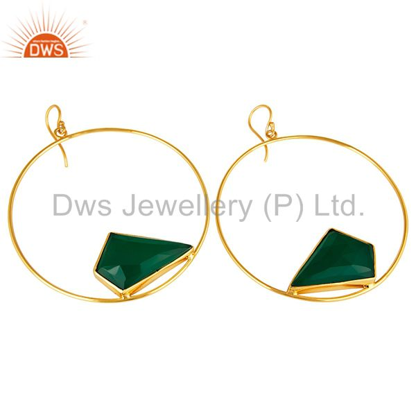 Exporter Handmade Green Onyx Circle Earrings With 18K Gold Plated