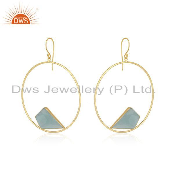 Exporter Yellow Gold Plated 925 Silver Chalcedony Gemstone Round Earring Wholesale