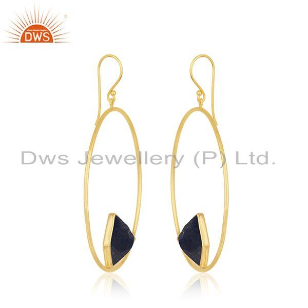 Exporter 92.5 Sterling Silver Yellow Gold Plated Lapis Lazuli Gemstone Earring Wholesaler