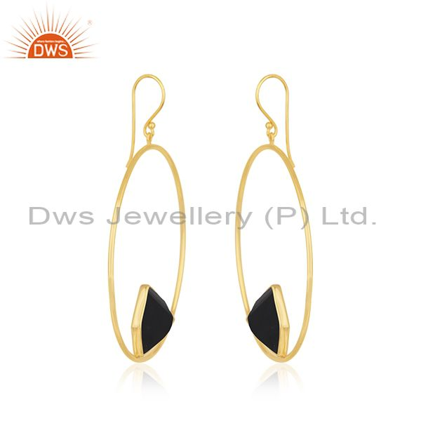 Exporter Black Onyx Gemstone 925 Sterling Silver Gold Plated Dangle Earrings Suppliers