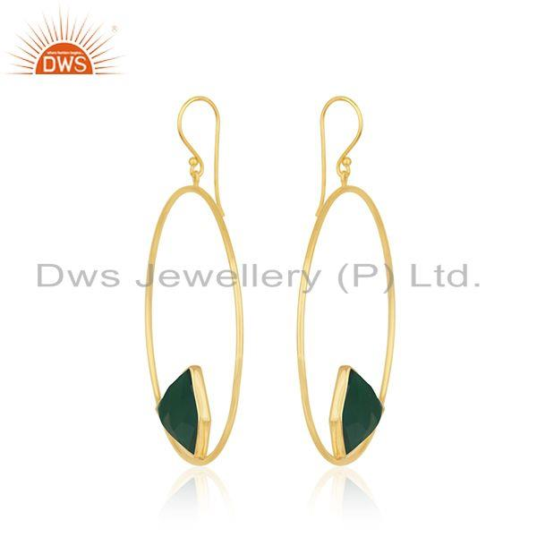 Exporter Green Onyx Gemstone 925 Sterling Silver Gold Plated Earrings Manufacturer India