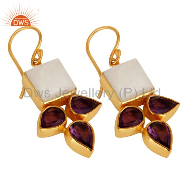 Exporter Handmade Amethyst And White Agate Earrings With Yellow Gold Plated