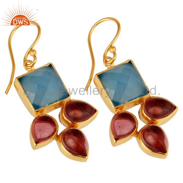Exporter Handmade Aqua Blue Chalcedony And Pink Glass Earrings With Gold Plated