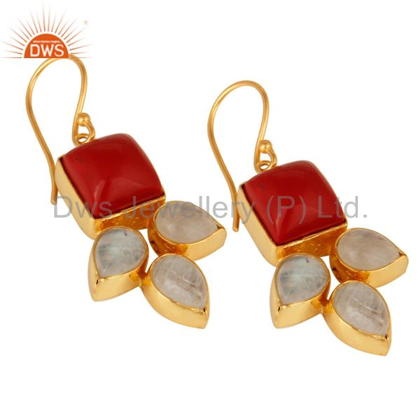 Exporter Natural Rainbow Moonstone And Coral Gemstone Earrings Made In 18K Gold On Brass