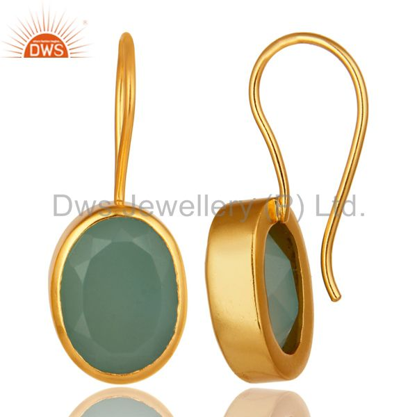 Exporter Dyed Aqua Blue Chalcedony Gemstone Earrings In 18K Yellow Gold Over Brass