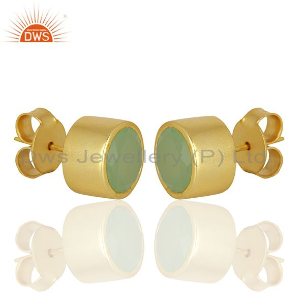 Exporter Aqua Chalcedony Gemstone Gold Plated Brass Fashion Stud Earrings
