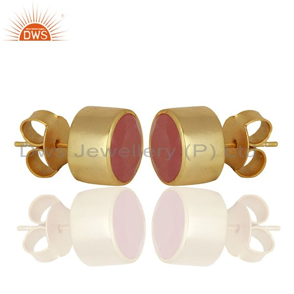 Exporter Gold Plated Aventurine Gemstone Gold Plated Stud Earrings Supplier
