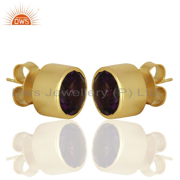 Exporter Hydro Amethyst Gemstone Gold Plated Womens Fashion Stud Earrings