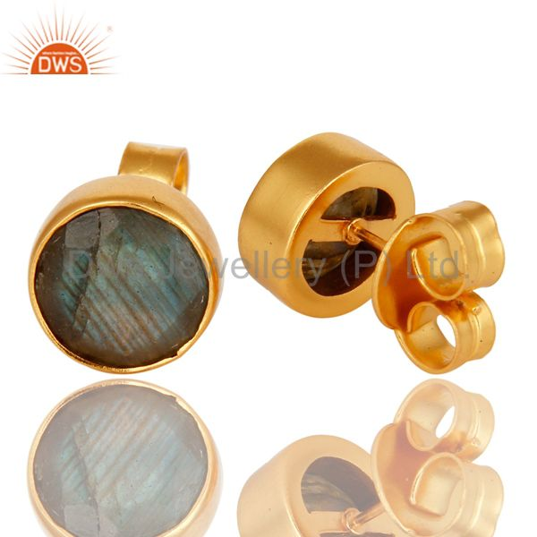 Exporter 14K Yellow Gold Plated Brass Labradorite Gemstone Stud Earrings