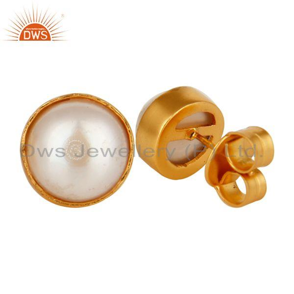 Exporter 18K Yellow Gold Plated Brass Natural White Pearl Stud Earrings For Womens