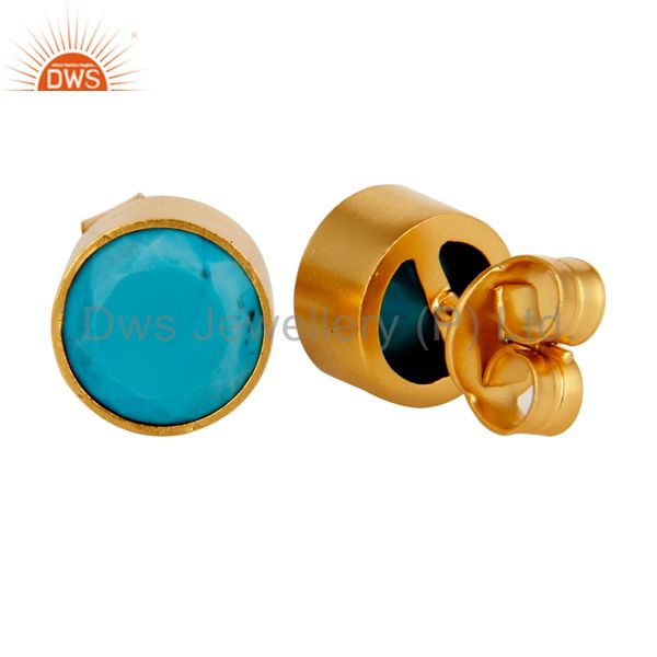 Exporter 18K Yellow Gold Plated Brass Bezel Set Turquoise Stud Earrings For Womens