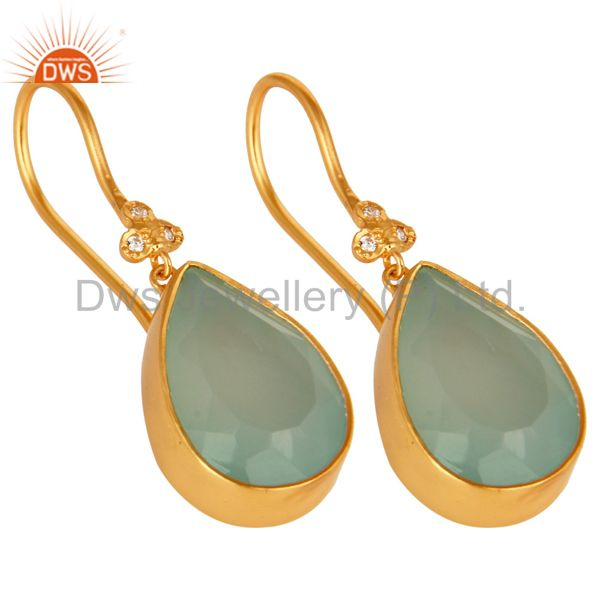 Exporter 14K Yellow Gold Plated Brass Aqua Blue Chalcedony Gemstone & CZ Dangle Earrings