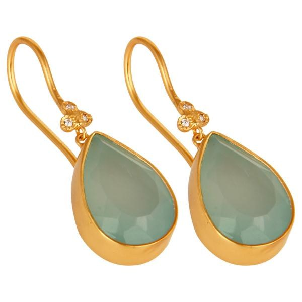 Wholesalers 14K Yellow Gold Plated Brass Aqua Blue Chalcedony Gemstone & CZ Dangle Earrings