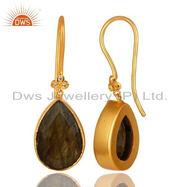Exporter 18K Yellow Gold Plated Brass Natural Labradorite Gemstone Earrings With CZ