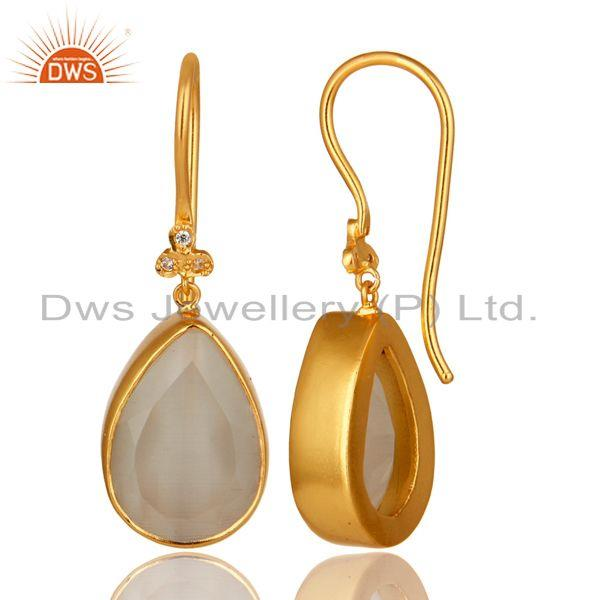 Exporter 18K Yellow Gold Plated Brass White Moonstone Bezel Set Drop Earrings