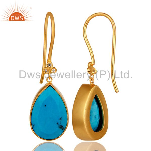 Exporter 18K Yellow Gold Plated Brass Turquoise Bezel Set Dangle Earrings With CZ