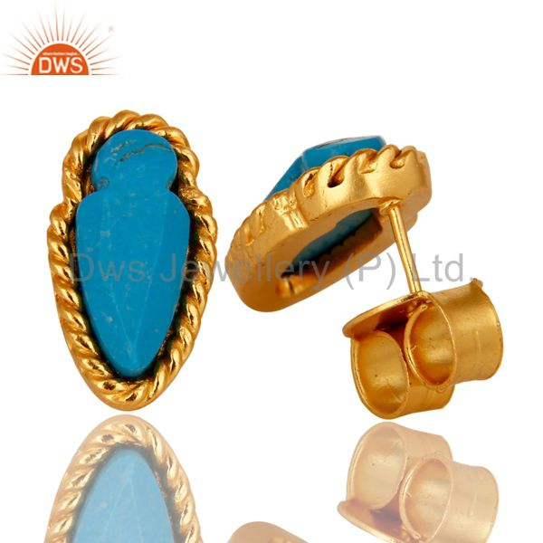 Exporter 18K Yellow Gold Plated Brass Turquoise Gemstone Post Stud Earrings