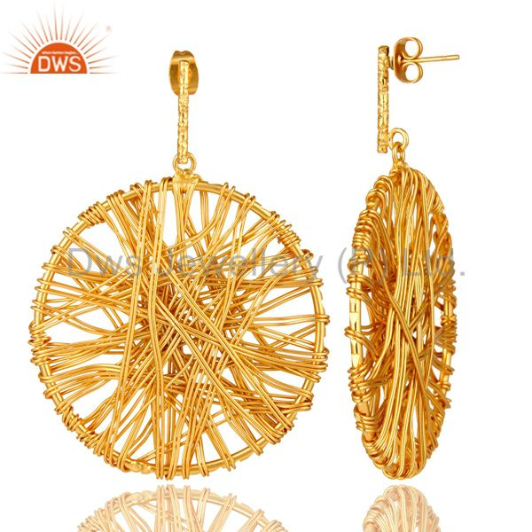 Exporter 14K Yellow Gold Plated Lace Weave Disc Design Ciracle Dangle Earrings