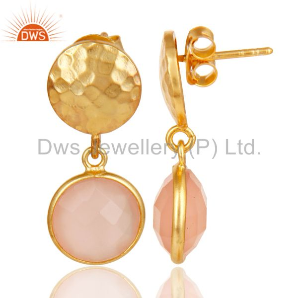 Exporter 18K Gold Plated Sterling Silver Textured Design Dyed Chalcedony Drops Earrings