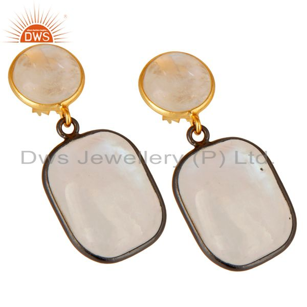 Exporter 18K Gold Plated & Black Oxidized Sterling Silver Rainbow Moonstone Drops Earring