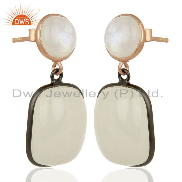 Exporter Rainbow Moonstone Designer Silver Gemstone Earrings Supplier Jewelry