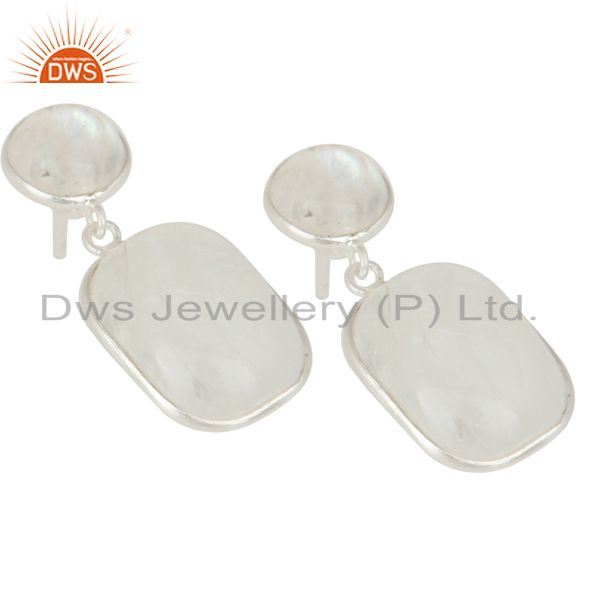 Exporter Indian Art Deco Solid 925 Sterling Silver Rainbow Moonstone Drops Earrings