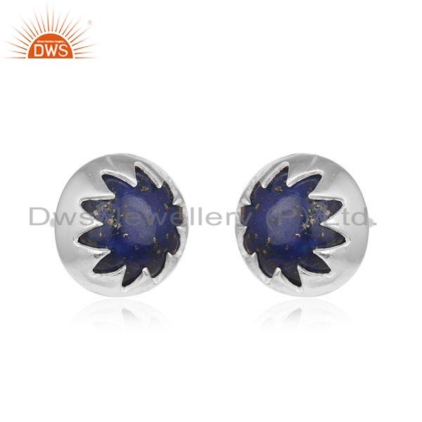 Exporter Designer Sterling Fine Silver Lapis Gemstone Stud Earrings Jewelry