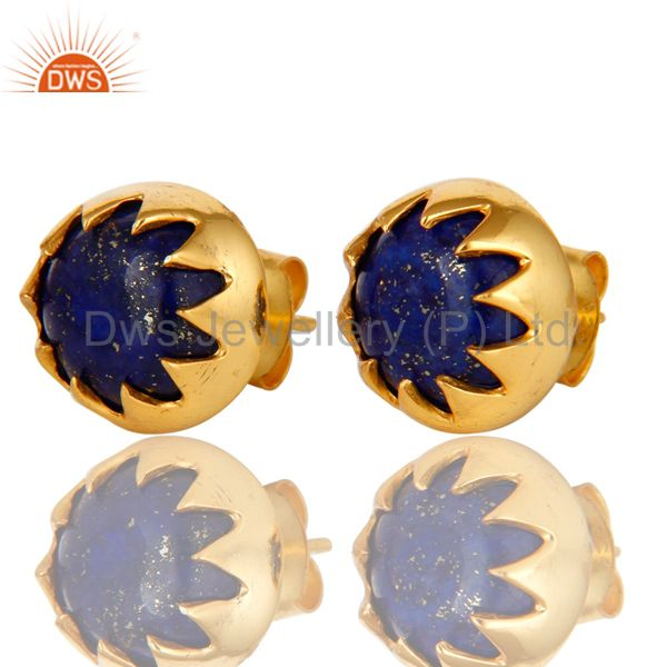 Exporter 18K Yellow Gold Plated Sterling Silver Lapis Lazuli Gemstone Stud Earrings
