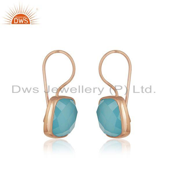 Exporter Rose Gold Plated 925 Silver Blue Chalcedony Gemstone Earring Supplier