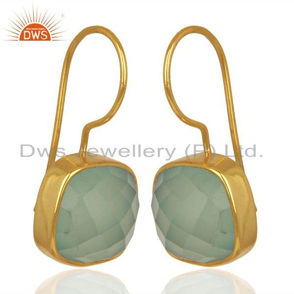 Exporter Aqua Chalcedony Dangle 14K Gold Plated Sterling Silver Earrings Gemstone Jewelry