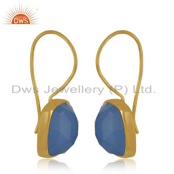 Exporter Blue Chalcedony Gemstone Yellow Gold Plated 925 Silver Earrings Wholesale INdia