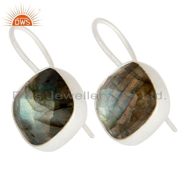 Exporter Handmade Sterling Silver Faceted Labradorite Gemstone Dangle Earrings