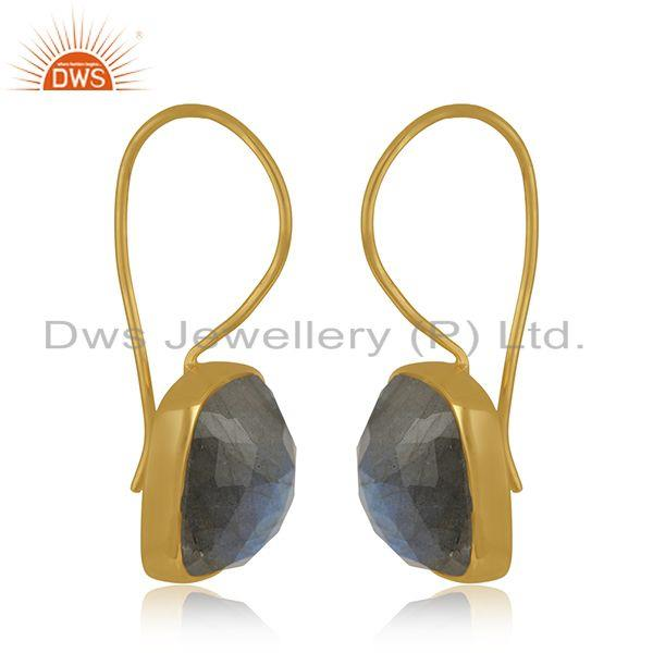 Exporter Labradorite Gemstone 925 Silver Yellow Gold Plated Stud Earrings Manufacturer