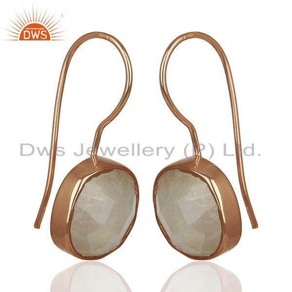 Exporter Rainbow Moonstone Rose Gold Plated 925 Silver Drop Earrings Jewelry